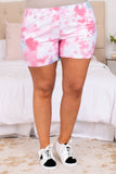 tie dye, figure flattering, shorts, waistline, comfy, lounge wear, trendy