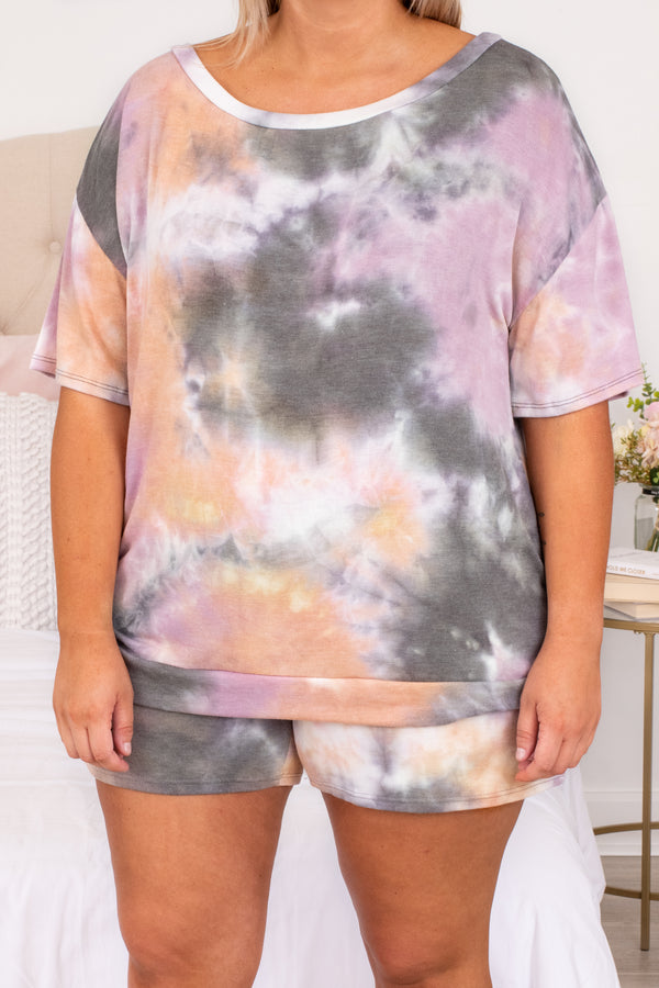 shirt, top, short sleeve, tie dye, loose, comfy, lounge wear, lounge top, tie dye, grey, mauve, orange