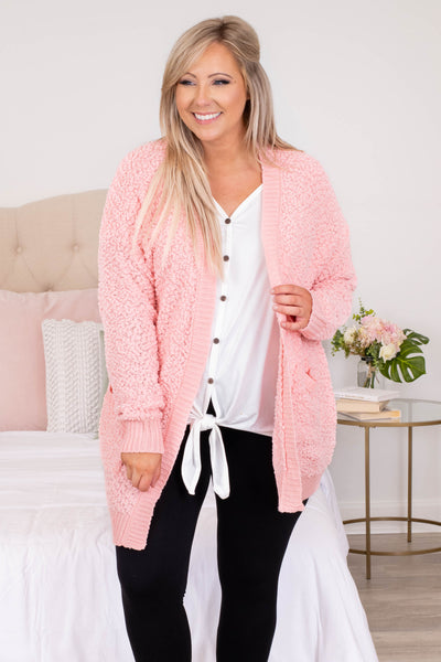 textured, cardigan, comfy, open front, dusty pink, long, above the knee, long sleeve