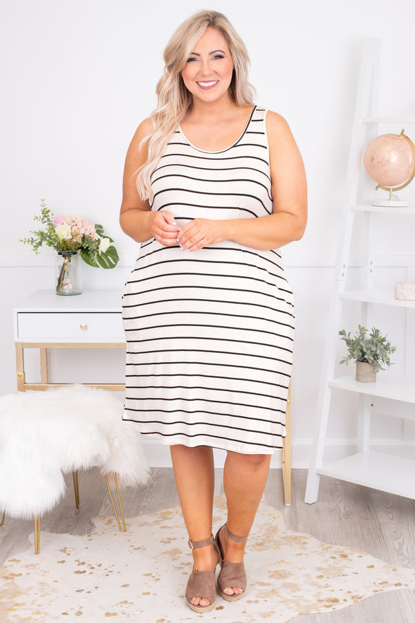 dress, short, sleeveless, thick straps, pockets, loose, white, black, striped, comfy, spring, summer