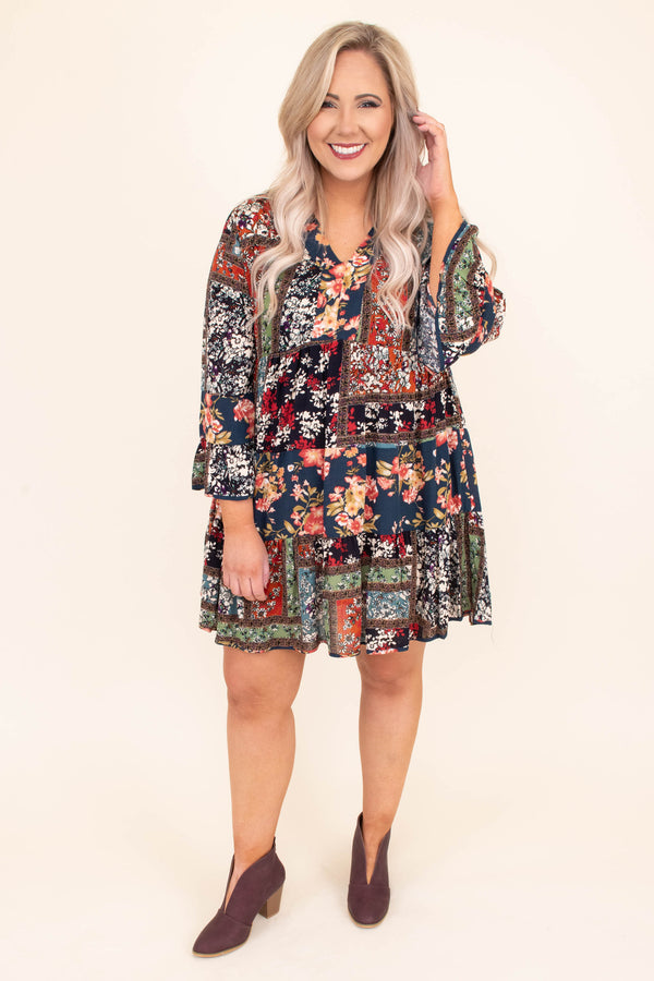 dress, short, long sleeve, vneck, bell sleeves, flowy, teal, floral, green, red, brown, comfy, fall, winter