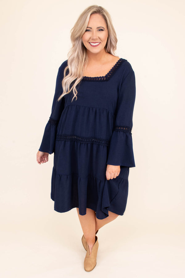 dress, short, long sleeve, bell sleeves, lace details, square neckline, babydoll, tiered, flowy, comfy, fall, winter, tie back
