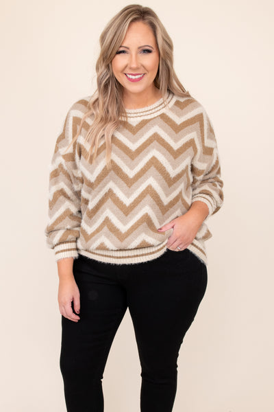 top, sweater, white, cream, chevron, long sleeve, warm, winter