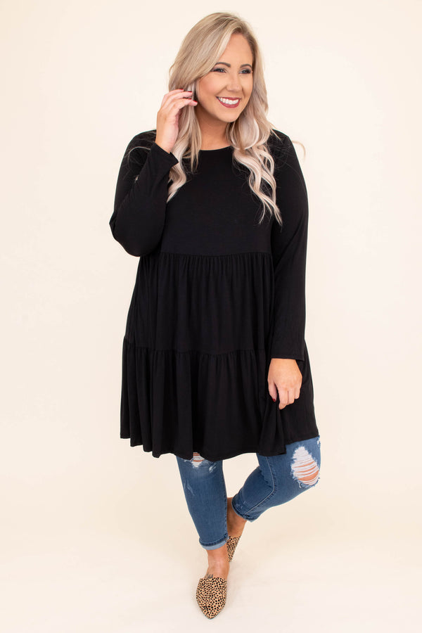 shirt, long sleeve, babydoll, long, ruffles, black, flowy, comfy, fall, winter