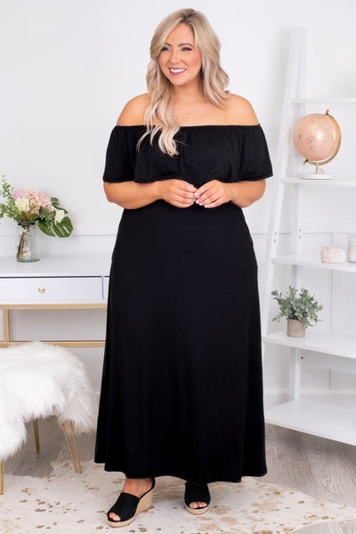 dress, maxi, short sleeve, off the shoulder, pockets, ruffle top, flowy, black, comfy