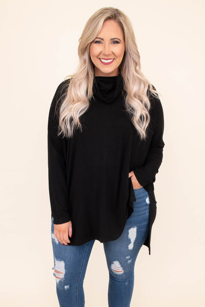 tunic, long sleeve, cowl neck, long, side slit, flowy, black, comfy, fall, winter
