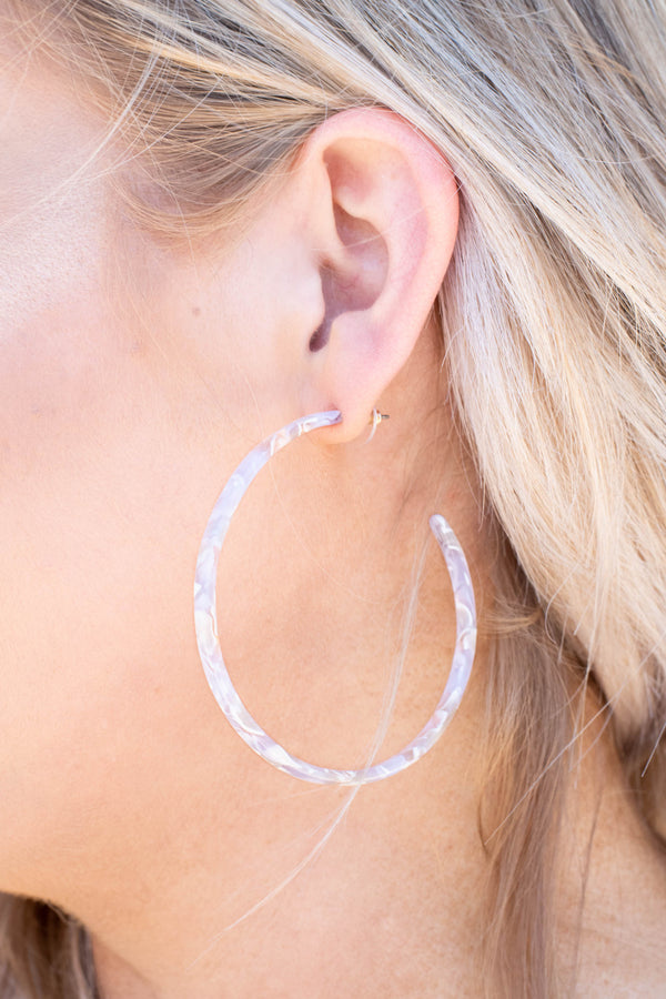 earrings, hoops, big, white, rose, marble, skinny