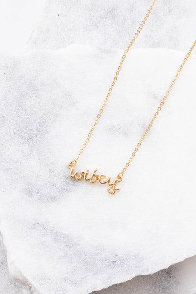 necklace, short chain, gold, wifey, script, dainty