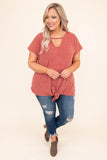 shirt, short sleeve, vneck, tie front, mauve, heathered, comfy, longer back, loose sleeves