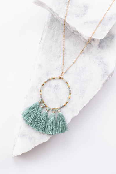 necklace, long, circle design, tassels, dainty chain, gold, mint