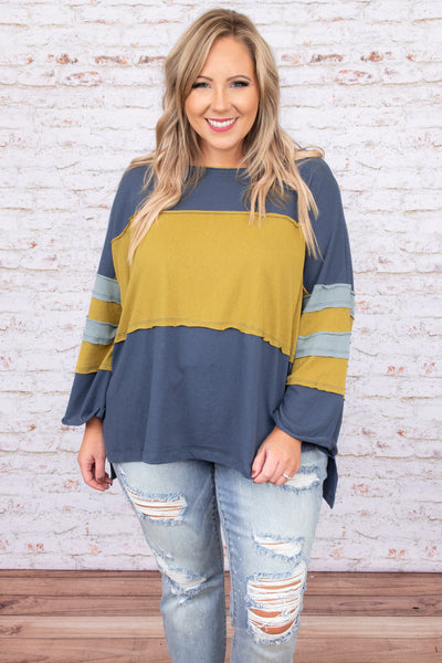 top, casual, green, blue, teal, stripped, long sleeve