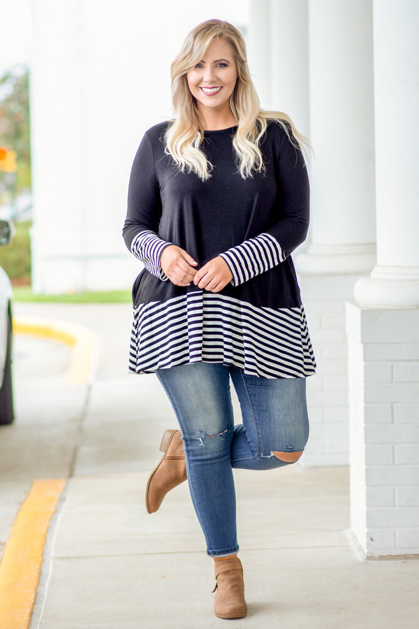 top, tunic, black, white, striped, long sleeve, warm, comfy