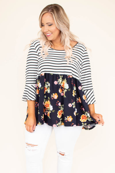 Pacific Coast Crush Top, Black-Navy