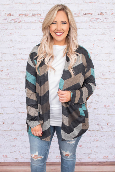 cardigan, long sleeve, loose, gray, brown, mint, chevron, comfy