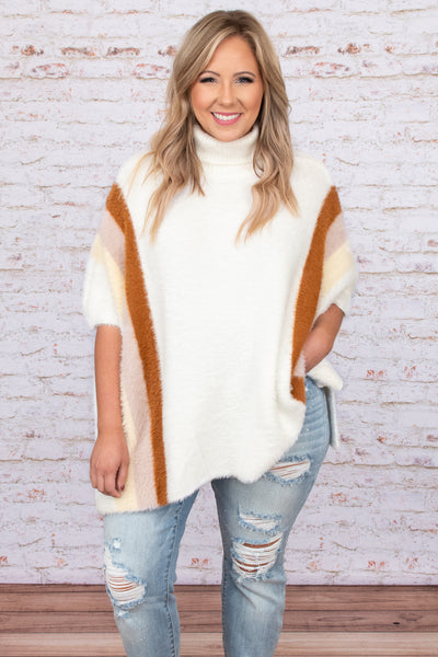 top, poncho, white, orange, striped, half sleeves