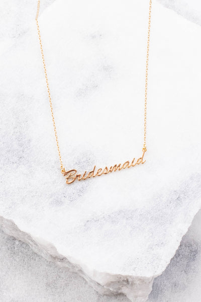 necklace, short chain, bridesmaid, script, gold, dainty