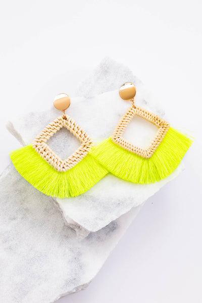 earrings, dangly, diamond, woven, fringe, tan, yellow, gold studs