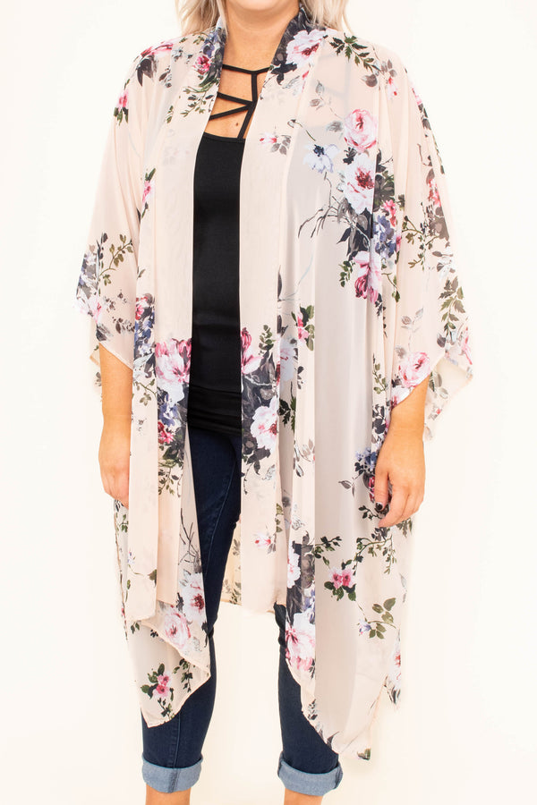 kimono, three quarter sleeve, long, asymmetrical hem, side slits, flowy, thin, peach, floral, white, green, red, spring, summer