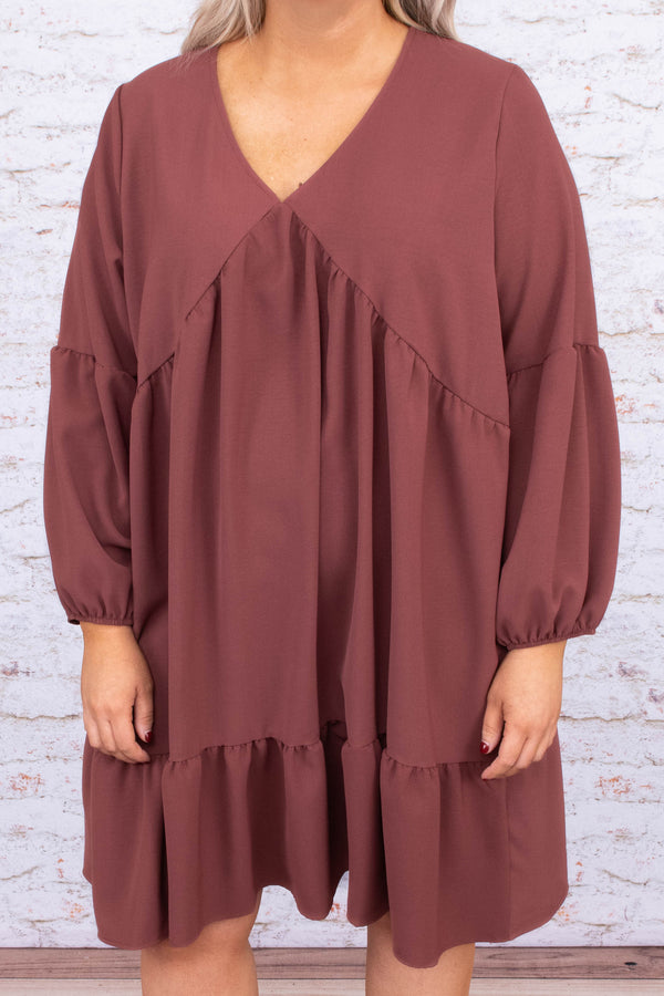dress, long sleeve, baby doll, tiered, mauve, knee length, v neck