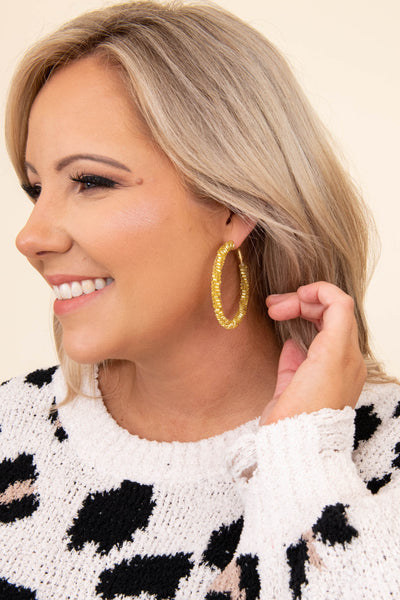 earrings, hoops, yellow, gold, medium, dangly