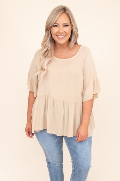 shirt, top, short sleeve, baby doll, beige, brown, loose, comfy, ruffle sleeve detailing