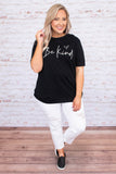 tshirt, short sleeve, graphic, black, be kind, white, comfy