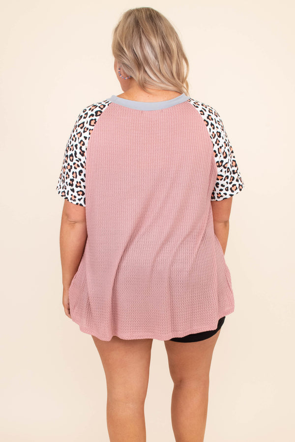 shirt, short sleeve, long, flowy, waffle knit, mauve, leopard sleeves, white, brown, black, comfy