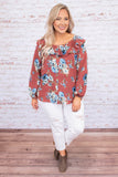 blouse, long sleeve, bubble sleeves, wide neckline, ruffle neckline, button down, short, curved hem, rust, floral, blue, white, green, comfy