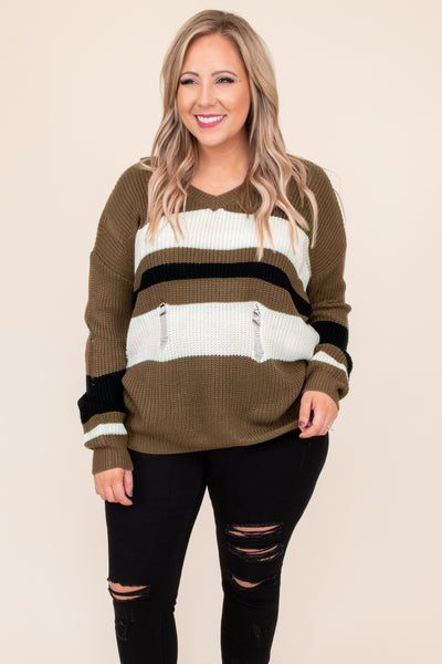 top, sweater, green, olive, ivory, striped, knit, long sleeve, distressed, winter, casual