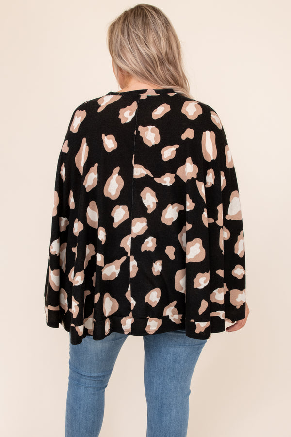 Found Another Crush Poncho, Black Leopard