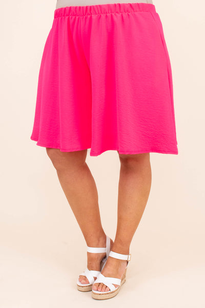 shorts, above knee, flowy, elastic waist, hot pink, bright, comfy, spring, summer