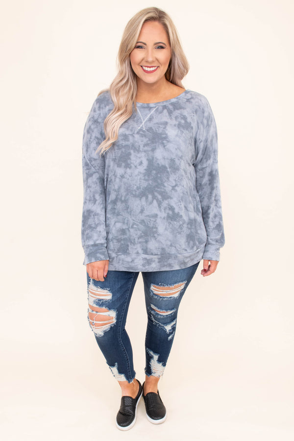 shirt, long sleeve, long, gray, tie dye, comfy, fall, winter, loose
