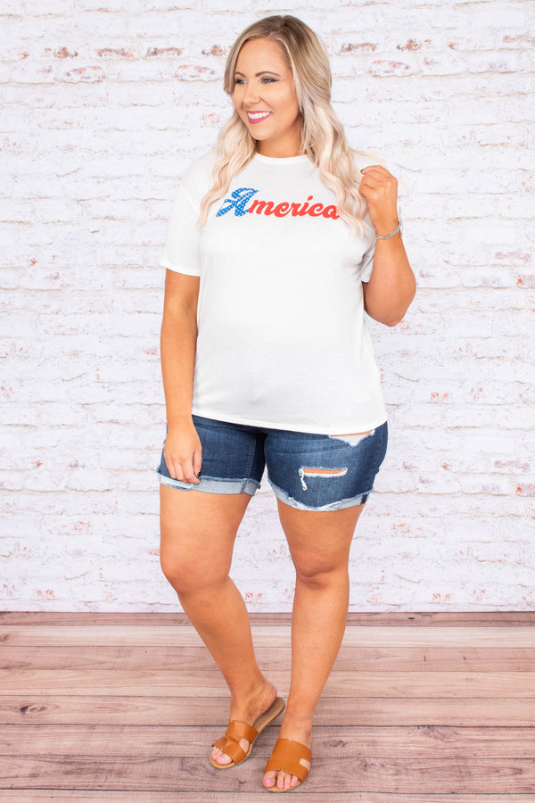 "top, short sleeve, white, graphic, ""america"", blue, red"