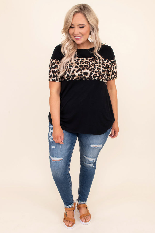 shirt, short sleeve, long, curved hem, loose, black, colorblock, leopard, brown, comfytop, casual top, color block, cheetah, black, taupe, short sleeve, black