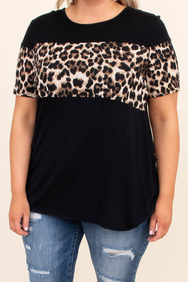 shirt, short sleeve, long, curved hem, loose, black, colorblock, leopard, brown, comfy