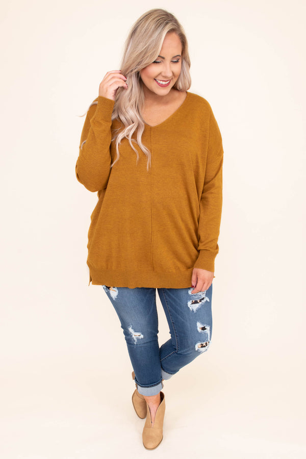 sweater, long sleeve, vneck, long, middle seam, comfy, mustard, fall, winter