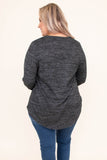 shirt, long sleeve, curved hem, longer back, loose, black, heathered, comfy, fall, winter