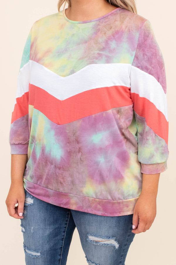 shirt, three quarter sleeve, fitted, short, tie dye, purple, blue, green, yellow, chevron, white, pink, comfy