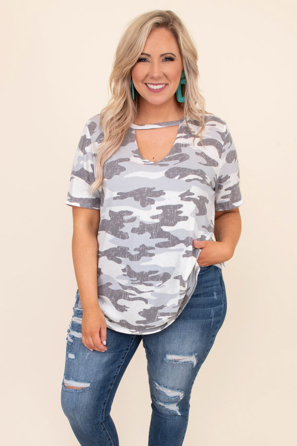 shirt, short sleeve, curved hem, long, loose, vneck cutout, white, gray, camo, comfy