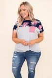 shirt, short sleeve, twisted hem, chest pocket, short, colorblock, gray, white, stripes, pink, floral, navy, green, blue, comfy