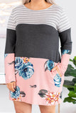 dress, short, long sleeve, pockets, fitted, gray, white, charcoal, pink, blue, green, red, stripes, floral, colorblock, comfy