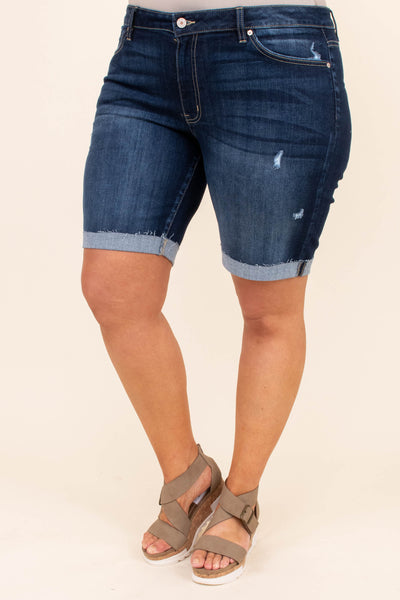 bottoms, shorts, denim, dark wash, distressed, cuffed bottom, knee length