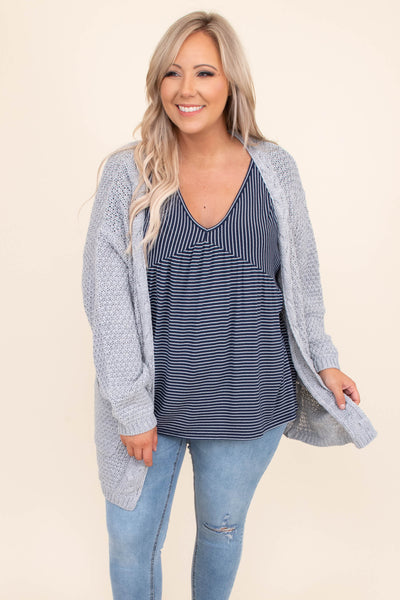 Delicate Balance Top, Navy-Ivory