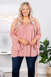blouse, long sleeve, bubble sleeves, sheer shoulders, vneck, tie neckline, flowy, blush, comfy