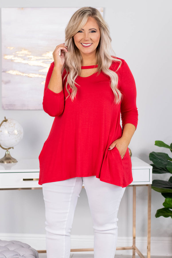 shirt, three quarter sleeve, pockets, scoop neck cutout, flowy, red, comfy