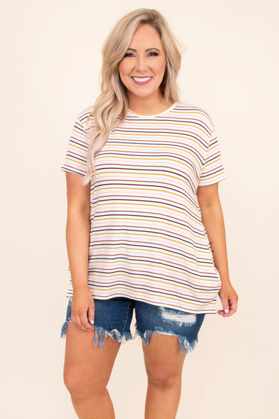 shirt, short sleeve, long, longer back, loose, white, yellow, black, red, striped, comfy