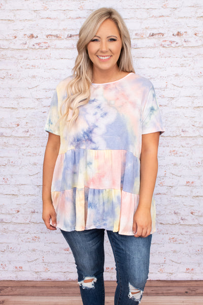 shirt, top, baby doll, short sleeve, tie dye, muted, pastels, pink, blue