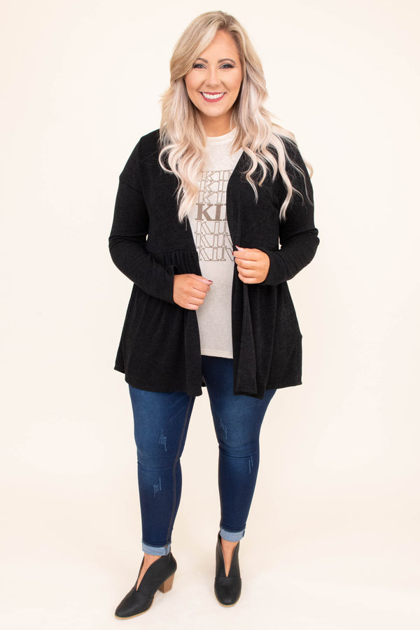 cardigan, long sleeve, babydoll, flowy, longer back, black, comfy