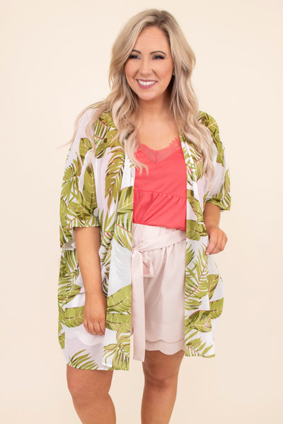 kimono, short sleeve, long, flowy, thin, white, tropical leaves, green, comfy, spring, summer