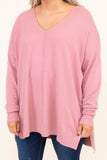 sweater, long sleeve, vneck, side slit, middle seam, pink, comfy, flowy, fall, winter